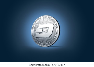 Shiny silver Dash coin displayed on gently lit dark blue background. 3D rendering (new virtual money)