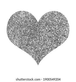 Shiny silver glitter heart background