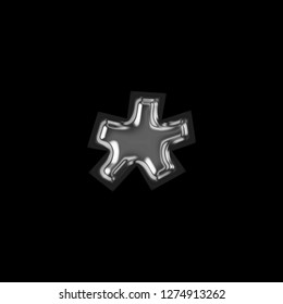Shiny silver metal asterisk or star shape symbol in a 3D illustration with a glossy metallic polished surface finish with a glass effect in a basic bold font on black with clipping path