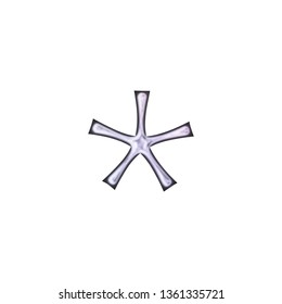 Shiny soft purple glass or metallic asterisk or star shape symbol in a 3D illustration with a smooth metal highlight effect in a pink purple fun curly font isolated on a white background