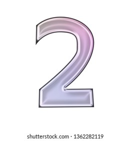 Shiny soft purple glass or metallic number two 2 in a 3D illustration with a smooth metal highlight effect in a pink purple hand drawn font isolated on a white background