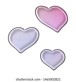 Shiny soft purple glass or metallic sheared rounded hearts set shapes design elements 3D illustration with a smooth metal highlight effect in a pink purple color style isolated on a white background