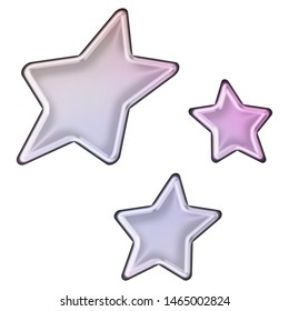 Shiny soft purple glass or metallic sheared rounded star shapes set design elements 3D illustration with a smooth metal highlight effect in a pink purple color style isolated on a white background