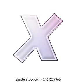 Shiny soft purple glass or metallic letter X in a 3D illustration with a smooth metal highlight effect in a pink purple basic bold font isolated on a white background