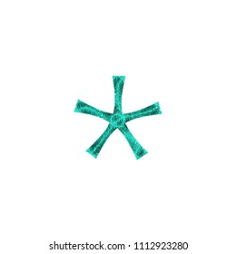 Shiny sparkly teal color plastic asterisk or star shape symbol in a 3D illustration with a shining sparkling textured surface & fun curly font type isolated on white with clipping path