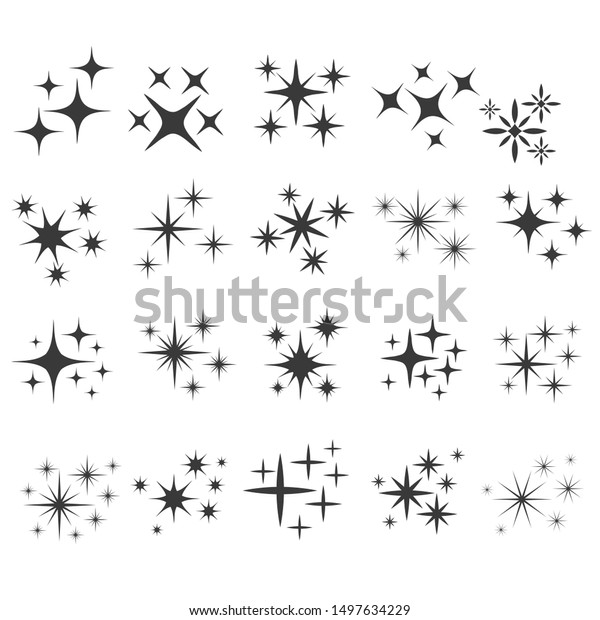 Shiny sparks silhouettes. Twinkle star particles, glitter sparkles and magic sparkle. Party sparks, festive sparkle burst or shine glitter starburst. Isolated silhouette icons set