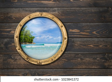 ship or boat porthole on wooden wall 3d illustration