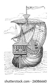 """Ship of Christopher Columbus"". Print from an old swedish book ""Historisk lasebok"" from 1882."