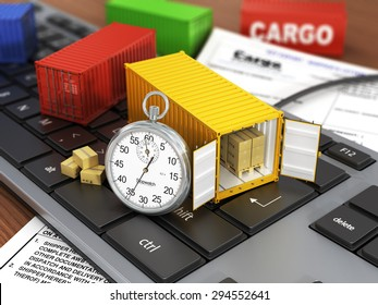 Ship containers on the keyword. Concept of delivering, shipping or logistics.