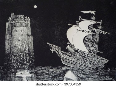 Ship and the fortress. Lithography (engraving on stone).
