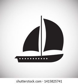 Ship icon on background for graphic and web design. Simple illustration. Internet concept symbol for website button or mobile app