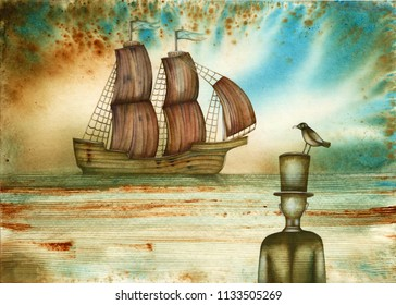 Ship and lonely man