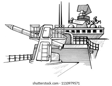 Ship with nuclear rocket, nuclear weapons. At the top is a dish receiving a signal. Hand drawing illustration