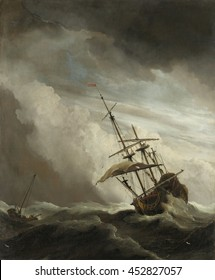 A Ship on the High Seas Caught by a Squall, Known (The Gust), Willem van de Velde (II), c. 1680, Dutch painting, oil on canvas. A 70-gun British warship is in distress on a high wave with one of its