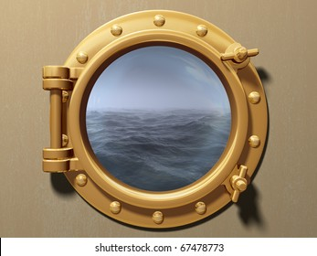 Ship porthole looking out to a cold and stormy sea