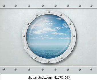 ship porthole or window with sea and horizon 3d illustration