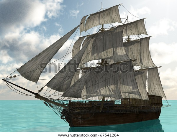 ship with sails in the ecean