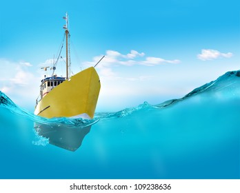 Ship in the sea.