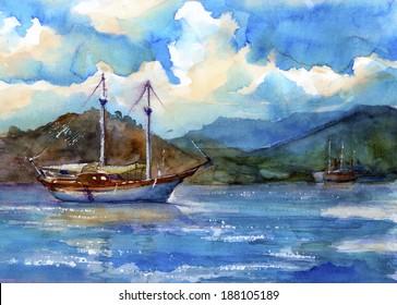 The Ship in the Sea, watercolor