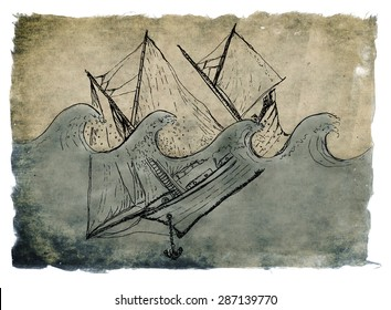 Ship sinking, artistic ink and water-colour drawing on parchment paper isolated on white.