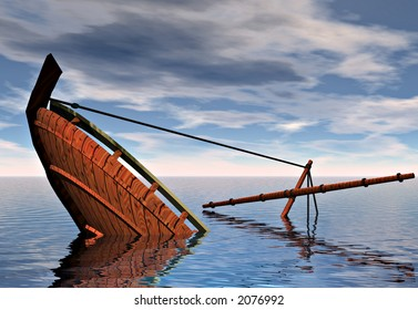 A ship sinking into the ocean. Symbolic of the concepts of failure and defeat.