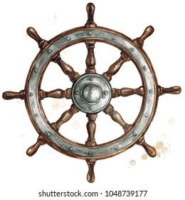 Ship steering wheel. Watercolor Illustration.