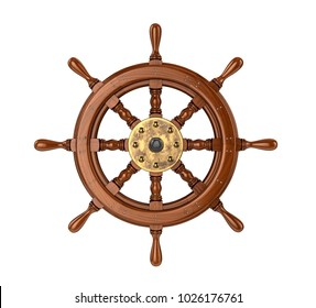 Ship wheel. 3D illustration