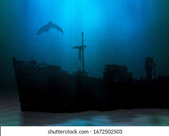 Ship wreck on sea or ocean bottom. Sunk vessel underwater scenery. Silhouette of old abandoned shipwreck and shark above it. Mysterious marine landscape 3D illustration