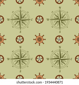 Ship and yacht rudders with wind rose or sea compass. Seamless background in English style. Marine theme. Yachting.