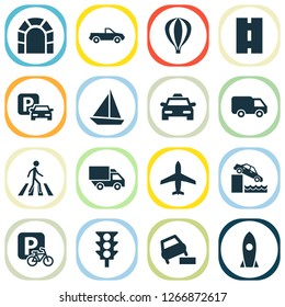 Shipment icons set with soft verges, taxi, sail boat and other vehicle elements. Isolated  illustration shipment icons.