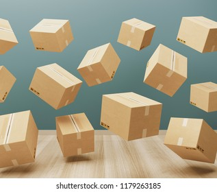 Shipping boxes in a room, 3d render illustration
