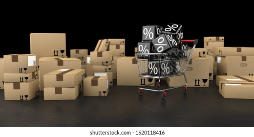 Shipping cartons with a shopping cart with rebate cubes on the table. 3d illustration.