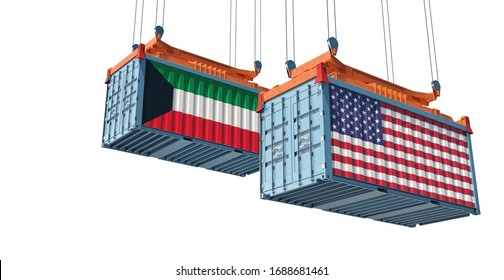 Shipping containers with Kuwait and USA flag. 3D Rendering