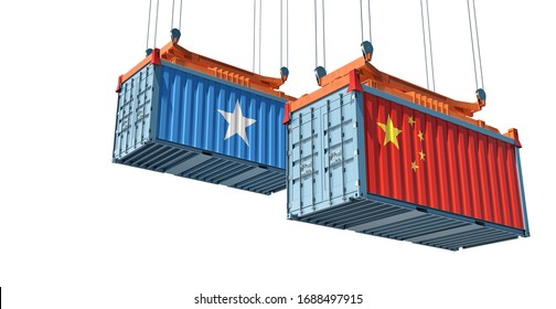 Shipping containers with Somalia and China flag. 3D Rendering