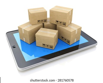 Shipping, delivery and logistics technology business industrial concept: heap of stacked corrugated cardboard package boxes on tablet computer PC