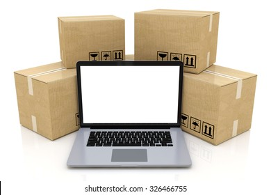 Shipping, delivery and logistics technology business industrial concept: heap of stacked corrugated cardboard package boxes and laptop with blank screen isolated on white