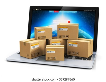 Shipping, delivery and logistics technology business industrial concept: heap of stacked corrugated cardboard package boxes on computer PC laptop notebook keyboard isolated on white background