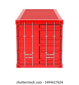 Shipping freight container. Red closed container. 3d rendering illustration isolated on white background