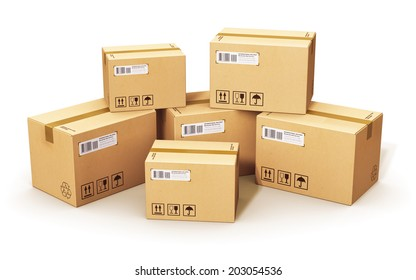 Shipping, logistics and retail goods delivery business concept: stack of corrugated cardboard box packages isolated on white background