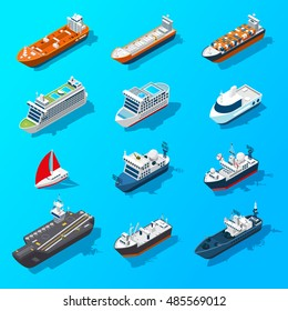 Ships motorboats sailing yachts and passenger vessels isometric icons set on water surface banner isolated  illustration