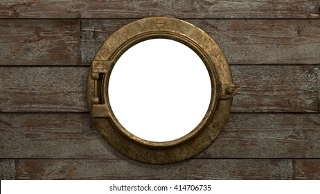 Ship's Porthole An old style ship's porthole set on old planking, the window has been isolated for artistic control. 3d Render.