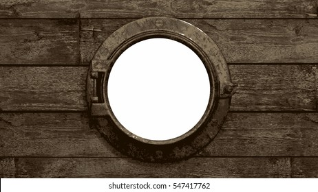 Ship's Porthole - Painted Stokes. A painted/poster style ship's porthole. The ship is wooden and the vintage porthole is brass. Isolated on white. 3d Rendering.