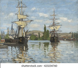 Ships Riding on the Seine at Rouen, by Claude Monet, 1873, French impressionist painting, oil on canvas