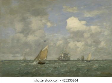 Ships and Sailing Boats Leaving Le Havre, by Eugene Boudin, 1887 French impressionist painting, oil on canvas. Boudin did not separate himself from the academic Paris Salons, and received a third pla