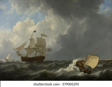Ships in a Turbulent Sea, by Johannes Christiaan Schotel, 1826, Dutch painting, oil on canvas. Four ships in rough sea, with a Dutch warship in the foreground.