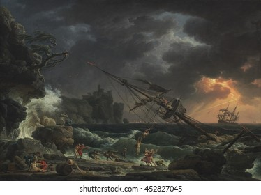 The Shipwreck, by Claude-Joseph Vernet, 1772, French painting, oil on canvas. People escape on a life line from a storm wrecked ship on a rocky shore. Survivors on shore attempt to retrieve some carg