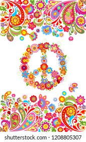 Shirt print on white background with colorful floral summery border and hippie peace flowers symbol