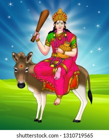 Shitala is a folk deity,worshiped by many faiths in regions of North India, West Bengal, Nepal, Bangladesh and Pakistan. As an incarnation of Supreme Goddess Durga, she cures poxes, sores, ghouls.