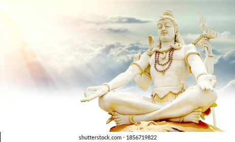 Shiv Doing Meditation and Rays of With Clouds Peace and love 3D illustration god Mahadev 3d mural