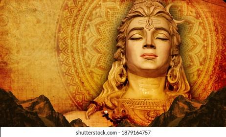 Shiv Lord Shiva 3D Wallpaper, Lord Shiva with colorful background golden red orange wallpaper, God Shiv  poster design for wallpaper Mandir Temple Mahadev 3d mural